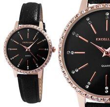 Damen Armbanduhr Schwarz/Rosé Crystalbesatz Kunstlederarmband von Excellanc