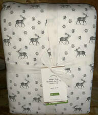 New~Pottery Barn Snowy Stag Reindeer Organic Flannel Cotton Sheet Set~QUEEN
