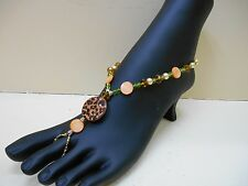 BAREFOOT SANDALS Anklet with Toe Ring EARTH TONE CHEETAH ADJUSTABLE LENGTH CLASP
