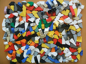 Lego 100 Roof Tiles Sloping / Angled brick --- Multi Coloured  1x2 and 1x3 Size