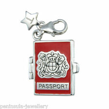 Tingle Passport Sterling Silver Clip on Charm with Gift Box and Bag