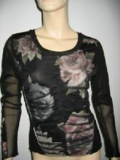 TOP BLOUSE FLORAL PRINT BLACK DRAPED TULLE 6 8 S M MADE IN ITALY