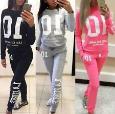 2Pcs Set Womens Loungewear Tracksuit Hoodie Sweatshirt Sports Jogging Top + Pant
