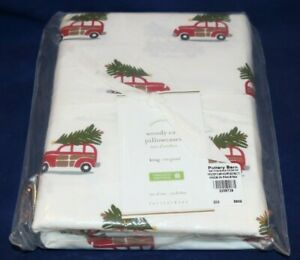 Pottery Barn WOODY CAR Organic Cotton King Pillowcases Set of 2, New Sealed