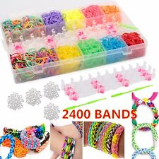 2400 COLOURFUL RAINBOW RUBBER LOOM BANDS BRACELET MAKING KIT SET W S-CLIPS BOX