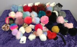 Small Mixed Bundle Of Soft Fluffy Pom Pom Colourful Multicoloured Keyrings