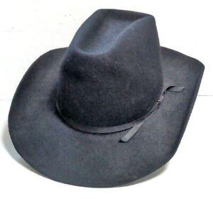 Rockmount Cowboy Hat Wool Black Western Size 7 1/4 Buckhorn 1750