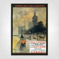 Vintage railway poster - A4 - L'Etat et de Brighton ParisLondon