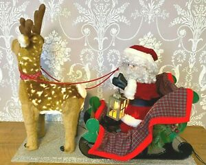 "Rare Vintage 32"" Animated Light Up Santa Reindeer Christmas Window Shop Display"