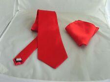 """Clásico < > Rojo Corbata Y Pañuelo Set-Mens ties 3.5"""" = 9cm ancho > 2UK > 1st Clase P&p"""
