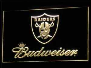 New NFL Football Raiders Budweiser LED Neon Signs Light Bar Man Cave 7 colors