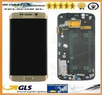 PANTALLA TACTIL LCD CON MARCO PARA SAMSUNG GALAXY S6 EDGE G925F ORO dorado GOLD