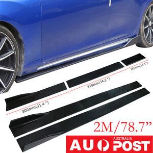 2M Universal Lower ABS Side Skirts Body Kit Rocker Panel Extensions 6Pcs Black