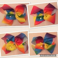 "XL 8"" Big Rainbow Hair Bow Clip Dance Moms School Rhinestone FAST UK SELLER"