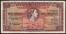 1957 Bermuda 5 SCELLINI BANCONOTA * T/1 738942 * AVF * P-18b *