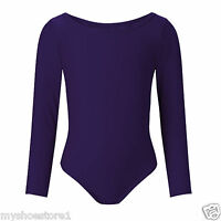 Children Girls Leotard Gymnastic Ballet Dance Long Sleeve Shiny Lycra Sport Suit