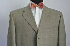 Canali 3 Btn Mens Sport Coat Super 120s Wool Beige Orange Blue Windowpane 43 L R