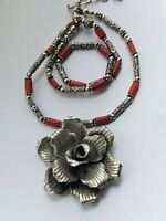 """Suarti Style 18"""" Hallmarked Sterling Silver & Coral Necklace 38gr London 2006"""
