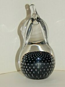 GORGEOUS - Tall Glass Pear - Clear and Black w/ Controlled Bubbles - Paperweight