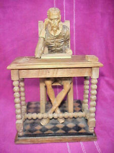 "Don Quixote Sitting at Desk-Large 10"" Tall Hand Carved-You've Never Seen Better"