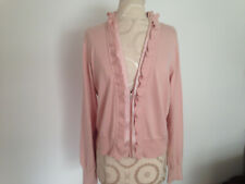 APT 9 Pink 100% Cotton Womens Long Sleeve Zip Ruffled Sweater Size Large