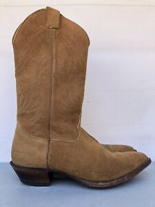 Nocona All Brown Suede Leather Western Roper Cowboy Boot USA Made Men's Sz 9 D