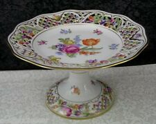 Vintage Schumann Dresden Flowers Porcelain Reticulated Floral Footed Compote