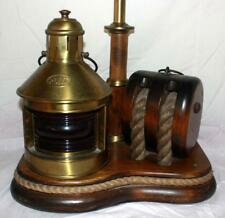Vintage Brass & Wood Nautical Lamp With Red Port Lantern Rope & Rigging ~Ss