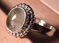 925 silver everyday rutilated quartz stone ring UK M¾-N/US 6.75.