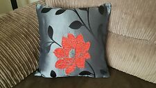 "18"" x 18""  Trendy Red, Black and Silver cushion cover."