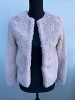 Women's Jacket Size 6 H&M Divided Pink Fluffy <MM2105