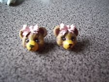Bear Pink Bow  2  Novelty Buttons