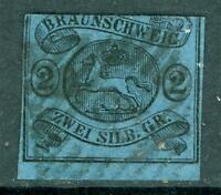 Germany 1853 Braunschweig 2 sGr Black/Blue SG #8 VFU I19 ⭐⭐⭐⭐⭐⭐