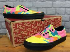 VANS MENS UK 8 EUR 42 ERA NEON CAMO MULTI COLOUR BLACK CANVAS TRAINERS LD