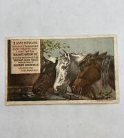 VICTORIAN TRADE CARD / Horses / Warner & Dodge Hardware Jackson , Michigan As Is