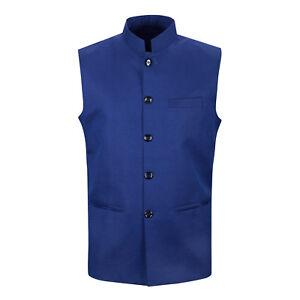 Men's Navy Blue Nehru Bandi Jacket Indian Style Vest Waistcoat Kurta Pajama