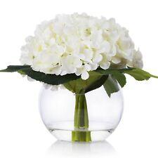 Enova Home Silk Hydrangea Flower Arrangement in Clear Glass Vase With Faux Water