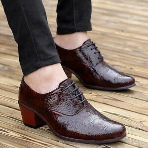 Men's pointy toe high heel casual lace up business oxford dress formal shoes