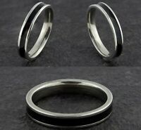 4mm Stainless Steel Black & Silver Mens & Womens wedding Band - Ring Size K to W