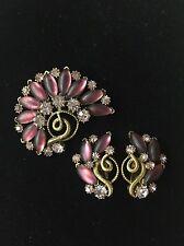 Vintage Signed Florenza Purple Rhinestone Cabochon Gold Brooch Clip Earring Set