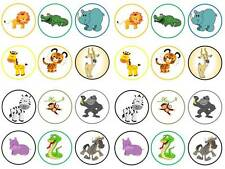 24 zoo animals safari african kids round cake cupcake toppers party edible paper