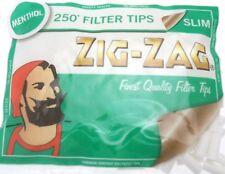 ZIG ZAG MENTHOL SLIM FILTER TIPS - 250 Filters in a Bag - Multi Buy Discount