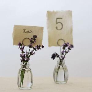 4 x Glass Bud Vase Name Card Holders - Wedding Decorations