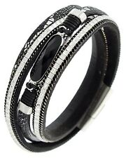 Multi Strand Leather Animal Print & Rhinestone Wrap Bracelet Magnetic Closure
