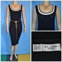 ST. JOHN Santana Knit Black Dress L 10 12 Cream Trims Sleeveless Sheath
