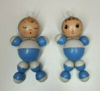 Vintage lot of 2 plastic doll baby rattlers rattler elastic made in Hong Kong