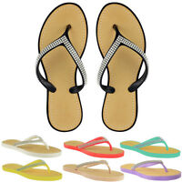 WOMENS LADIES DIAMANTE FLIP FLOPS JELLY SANDALS SUMMER TOE POST BEACH SHOES SIZE