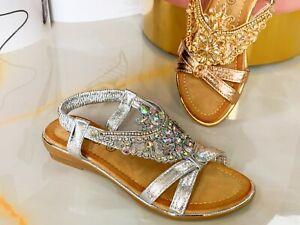 Womens ladies Diamante Sandals sparkly Flat Party summer Beach Fashion shoes
