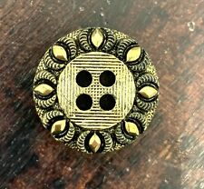 5 X Round 4 Hole Brushed Gold Buttons 26mm Flower Geometric Jacket Filigree