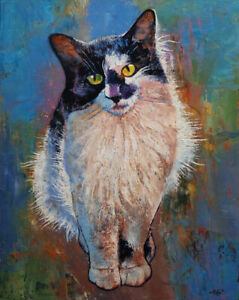 "BLACK AND WHITE CAT 16x20"" Oil Painting Tuxedo Long Hair Original Art M.Creese"